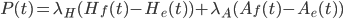 P(t) = \lambda_H (H_f(t) - H_e(t)) + \lambda_A(A_f(t) - A_e(t))