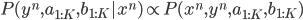 P(y^n, a_{1:K}, b_{1:K} | x^n) \propto P(x^n, y^n, a_{1:K}, b_{1:K})