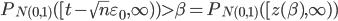 P_{N(0,1)}([t-\sqrt{n}\varepsilon_{0},\infty) )\gt \beta=P_{N(0,1)}([z(\beta),\infty) )