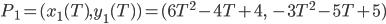 P_1 = ( x_1(T), y_1(T) ) = (6T^2 - 4T + 4, \; -3T^2 - 5T + 5)