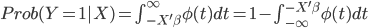 Prob(Y=1|X)=\int_{-X'\beta}^{\infty}\phi(t)dt=1-\int_{-\infty}^{-X'\beta}\phi(t)dt