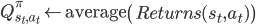 Q_{s_t, a_t}^{\pi} \leftarrow \mbox{average}\left(Returns(s_t, a_t)\right)