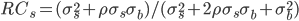 RC_s=(\sigma_s^2+\rho\sigma_s\sigma_b) / (\sigma_s^2+2\rho\sigma_s\sigma_b+\sigma_b^2)