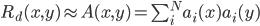 R_d(x,y) \approx A(x,y) = \sum_i^N a_i(x)a_i(y)