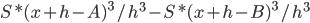 S * (x + h - A)^{3} / h^{3} -  S * (x + h - B)^{3} / h^{3}