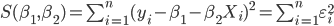 S(\beta_1,\beta_2)=\sum_{i=1}^n(y_i-\beta_1-\beta_2X_i)^2=\sum_{i=1}^n\varepsilon_i^2