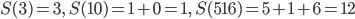 S(3) = 3,\ S(10) = 1 + 0 = 1,\ S(516) = 5 + 1 + 6 = 12