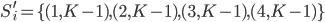 S_{i}^{\prime} = \lbrace(1, K-1), (2, K-1), (3, K-1), (4, K-1)\rbrace