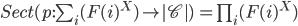 Sect(p:\sum_{i}(F(i)^X) \to |\mathscr{C}|) \,= \prod_i (F(i)^X)