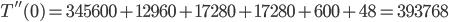 T''(0) = 345600 + 12960 + 17280 + 17280 + 600 + 48 = 393768