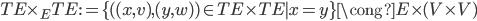 TE\times_E TE := \{(  (x, v), (y, w))\in TE\times TE\mid x = y\} \cong E\times(V\times V)