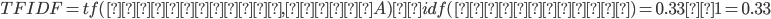 TFIDF = tf(ラーメン, 文書A) × idf(ラーメン) = 0.33 × 1 = 0.33
