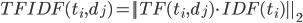 TFIDF(t_i, d_j) = || TF(t_i, d_j) \cdot IDF(t_i) ||_2