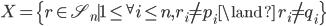 X = \{ r \in \mathfrak{S}_n \mid 1 \leq {}^\forall i \leq n, r_i \neq p_i \land \ r_i \neq q_i \}
