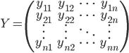 Y = \begin{pmatrix} y_{11} & y_{12} & \cdots & y_{1n} \\ y_{21} & y_{22} & \cdots & y_{2n} \\ \vdots & \vdots & \ddots & \vdots \\ y_{n1} & y_{n2} & \cdots & y_{nn} \\ \end{pmatrix}