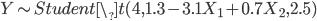 Y \sim Student\_t(4, 1.3 - 3.1 X_1 + 0.7 X_2, 2.5)
