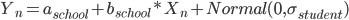 Y_{n} = a_{school} + b_{school}*X_{n} +Normal (0 , \sigma_{student})