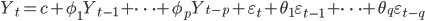 Y_t = c + \phi_1 Y_{t-1} + \cdots + \phi_p Y_{t-p} + \varepsilon_t +  \theta_1 \varepsilon_{t-1} + \cdots + \theta_q \varepsilon_{t-q}