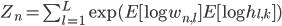Z_n = \sum_{l=1}^{L}\exp(E[\log w_{n,l}]E[\log h_{l,k}])