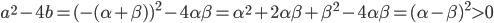 a^{2} - 4b = (-(\alpha + \beta))^{2} - 4 \alpha \beta = \alpha^{2} + 2 \alpha \beta + \beta^{2} - 4 \alpha \beta = (\alpha - \beta)^{2} \gt 0