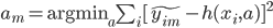 a_m = \text{argmin}_a \sum_i [ \tilde{y_{im}} - h(x_i, a) ]^2