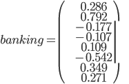 banking = \left(   \begin{array}{c}     0.286 \\     0.792 \\     -0.177 \\     -0.107 \\     0.109 \\     -0.542 \\     0.349 \\     0.271   \end{array} \right)