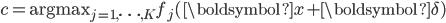 c = \text{argmax}_{j=1,\cdots, K} f_j(\boldsymbol{x}+\boldsymbol{\delta})