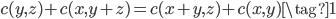 c(y, z) + c(x, y + z) = c(x + y, z) + c(x, y) \tag{1}
