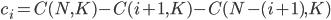 c_{i} = C(N, K) - C(i+1, K) - C(N - (i+1), K)