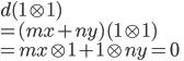 d(1 \otimes 1) \\ = (mx + ny)(1 \otimes 1) \\ = mx \otimes 1 + 1 \otimes ny = 0