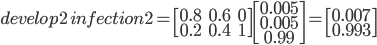 develop2\: infection2 = \begin{bmatrix}0.8 & 0.6 & 0 \\ 0.2 & 0.4 & 1 \end{bmatrix}\begin{bmatrix}0.005 \\ 0.005 \\ 0.99 \end{bmatrix} = \begin{bmatrix}0.007 \\ 0.993\end{bmatrix}