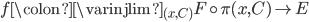 f \colon \varinjlim_{(x,C)} F \circ \pi(x,C) \to E