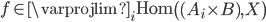 f \in \varprojlim_{i} \text{Hom} \left( (A_{i} \times B), X \right)