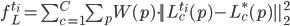 f ^{t_i}_{L} = \sum ^C_{c=1} \sum _{p} W(p) \cdot || L ^{t_i}_{c}(p) - L ^{*}_{c}(p) || ^2_2