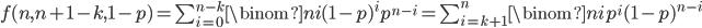 f(n, n+1-k, 1-p) = \sum_{i=0}^{n-k} \binom{n}{i} (1-p)^i p^{n-i} = \sum_{i=k+1}^n \binom{n}{i} p^i (1-p)^{n-i}