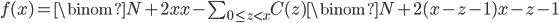 f(x) = \binom{N+2x}{x} - \sum_{0\leq z \lt x}{C(z)\binom{N+2(x-z-1)}{x-z-1}}