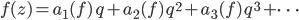 f(z) = a_1(f) \,q + a_2(f) \,q^2 + a_3(f)\, q^3 + \cdots