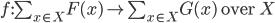 f:\sum_{x \in X}F(x) \to \sum_{x \in X}G(x) \mbox{ over } X