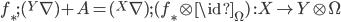 f_\ast;({}^Y\nabla) +  A =  ({}^X\nabla);(f_\ast \otimes \id_\Omega) \:\: : X\to Y\otimes\Omega