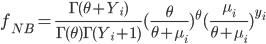 f_{NB} = \frac{\Gamma(\theta+Y_i)}{\Gamma(\theta)\Gamma(Y_i+1)}(\frac{\theta}{\theta+\mu_i})^{\theta} (\frac{\mu_i}{\theta+\mu_i})^{y_i}