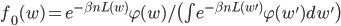 f_0(w) = e^{-\beta n L(w)} \varphi(w)  / \bigl( \int e^{-\beta n L(w')} \varphi(w') dw' \bigr)