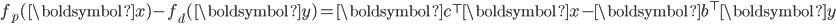 f_p(\boldsymbol{x}) - f_d(\boldsymbol{y}) = \boldsymbol{c}^{\top} \boldsymbol{x} - \boldsymbol{b}^{\top} \boldsymbol{y}