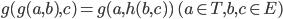 g (g(a,b),c) = g(a,h(b,c)) \ (a \in T, b,c \in E)