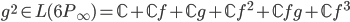 g^2 \in L(6P_{\infty}) = \mathbb{C} + \mathbb{C}f + \mathbb{C}g + \mathbb{C}f^2 + \mathbb{C}fg + \mathbb{C}f^3
