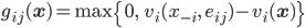 g_{ij}(\mathbf{x}) = \max\left\{ 0, \;\; v_i(x_{-i}, \; e_{ij}) - v_i(\mathbf{x}) \right\}