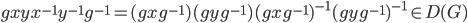 gxyx^{-1}y^{-1}g^{-1} = (gxg^{-1})(gyg^{-1})(gxg^{-1})^{-1}(gyg^{-1})^{-1} \in D(G)