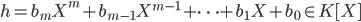h = b_m X^m + b_{m-1} X^{m-1} + \cdots + b_1 X + b_0 \in K [X]