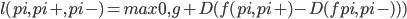 l(pi, pi+, pi-) = max{0, g + D(f(pi, pi+) - D(fpi, pi-) ))}