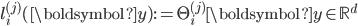 l^{(j)}_i(\boldsymbol{y}):=\Theta^{(j)}_{i} \boldsymbol{y} \in \mathbb{R}^d