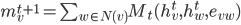 m_{v}^{t+1} = \sum_{w\in{N(v)}}M_{t}(h_{v}^{t}, h_{w}^{t}, e_{vw})